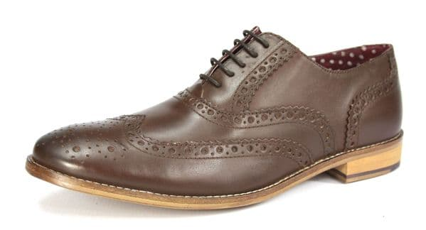 London Brogues Gatsby Lace Up Shoes Brown
